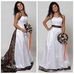 Halter Camo A-Line Wedding Dresses With Detachable Chapel Train Long Formal Bridal Gowns Custom Made Online Vestidos De Novia Spring 2017
