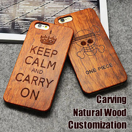 Wholesale Engraving Wood Phone Case For iPhone Cover Carved Wooden Bamboo For iphone s Plus Samsung S7 S6 edge Customized