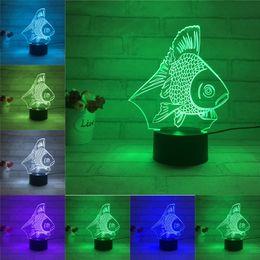 Wholesale 2017 NEW LED Night Light Color Changing D Fish Shape Table Desk Lamp for Baby Children Bedroom Decoration Lamp Lighting