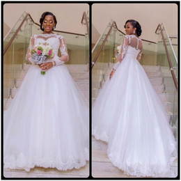 Long Sleeve Wedding Dresses 2020 A Line Lace Bridal Gonws Appliques Lace Sweep Train Dubai Illusion Sheer Bridal Gowns
