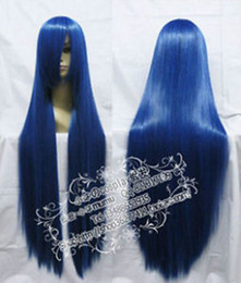 New Long Blue Black Cosplay Straight Wig 100cm free shipping