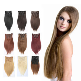 Top Quality Brazilain Grace Full Head New Clip In Human Hair Extensions #613 Blonde Double Weft Hair Extensions No Tangle Free Shipping