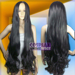 100 cm Black Heat Styleable No Bang Long Wavy Cosplay Wigs G_001