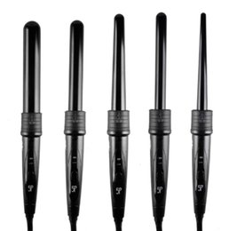 Gants de curling baguette en Ligne-Hot 410F 5 Partie cheveux Curling Iron Machine 5P céramique Hair Curler Set 5 tailles 09-32mm Curling Wand rouleaux avec gants Clips Peigne