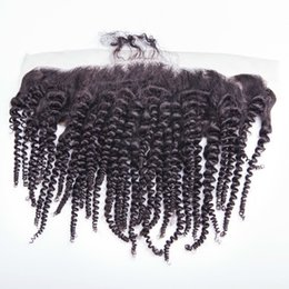 Human Mongolian Lace Frontal 13x4 Frontal Piece kinky curly Full Lace Frontal Mongolian afro kinky curly