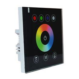 24v диммер панель для продажи-Максимальная мощность 384W Сенсорная панель LED диммер настенный регулятор для RGBW светодиодные ленты Lights 12 В постоянного тока - 24 В (черный)