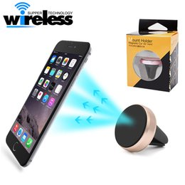 Wholesale Universal Air Vent Magnetic Mobile Phone Holder For iPhone Samsung Magnet Car Phone Holder Aluminum Silicone Mount Holder Stand