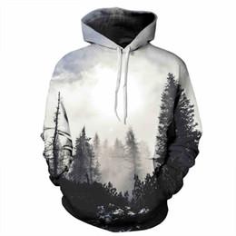 Wholesale 2017 newest hoodie mist pine tree woods d print fashion hoody big size casual unisex pullover winter wear sweatshirt