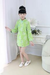Children's cheongsam Linen Plum flower Long-sleeved princess dress Spring and Autumn models Girl dress