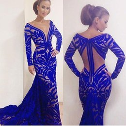 Custom Made Royal Blue Mermaid Prom Dresses Sheer Deep V-Neck Long Sleeve Backless Floor Length Formal Red Carpet Evening Gowns