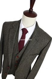 Free Shipping Custom Made Dark brown Retro gentleman Herringbone Men Suits Slim Fit wedding suit men Tailor made Suit(Jacket+Pants+Vest)