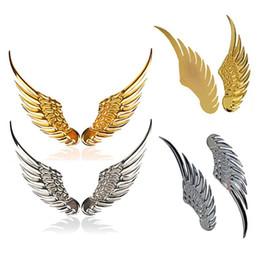 Wholesale 3D Alloy Metal Angel Hawk Wings Emblem Badge Decal Car Logo Sticker Golden Silver Color Optional Pair for All Car Decoration