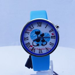 Wholesale High quality fashion new arrival sports watch quartz wrist watch with cute Mickey Mouse Printer leather strap watches for Christmas gift