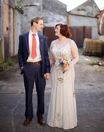 Plus Size 2017 Jenny Packham Robes de mariée pour Bohemian Brides Formal Wear La vente Deux pièces de style nuptiale Robes avec Satin Underskirt XG à partir de deux usure fabricateur