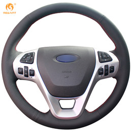 Mewant Black Genuine Leather Car Steering Wheel Cover for Ford Explorer 2011-2016 Taurus 2012-2015 Edge 2011-2014