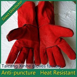 Hot selling durable Heat-resistant and wear-resisting Long Cow spilt safety leather welding working gloves for industry use