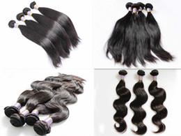 Acheter en ligne 18 black hair-Branches brésiliennes brésiliennes de tissus de tissus de cheveux de la Vierge de Malaisie Formes du corps ondulées Indiennes Cheveux humains Indiens Dyeable