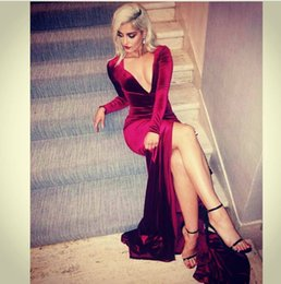Sexy Deep V Neck Burgundy Long Sleeve Prom Dresses Mermaid 2017 Velvet Sweep Train High Slit Prom Party Gowns Vestido De Noche