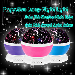 Wholesale Romantic Rotating Spin Night Light LED Projector with Starry Sky Doraemon Paul Homme Hello Kitty Children LED Lighted Toys USB Lamp DHL free
