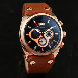Mens multi fonction en Ligne-Marque de luxe Montre pour hommes Montre en cuir Tous les cadrans 6 Aiguilles Travail Calendrier multifonction Waterproof High Quality Women Automatic Watches 678