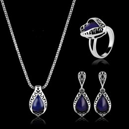 Wholesale Necklaces Earrings Rings Jewelry Set Vitnage Luxury Antique Silver Plated Water Drop Style Piece Set Wedding Jewelry JS326