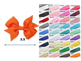 "3.5"" Boutique pinwheel bow Clips Solid Color Grosgrain ribbon bow Children's hair Accessories 100pcs"