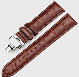 New business brown black high-grade leather first layer skin butterfly buckle strap bamboo belt waterproof watch strap