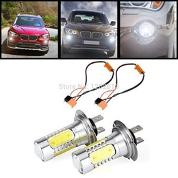 2017 las luces de carga 2Pcs Car H7 Blanco CREE XP-E Q5 Chips COB LED Luz DRL + 50W 8-Ohm Resistor Carga Para BMW E46 E60 E82 E84 E88 E90 E91 las luces de carga oferta
