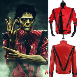 Wholesale Performance wear Rare Classic MJ MICHAEL JACKSON Thriller Night Red Leather Jacket For Fans Best Halloween Costume Christmas Gift in s