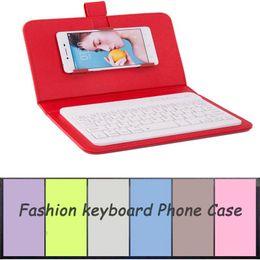 Caso de cuero del teclado del iphone en Línea-Caja del teléfono del teclado de Bluetooth para el iPhone 6 6S Caja de cuero con el teclado sin hilos para el teléfono celular de Samsung Huawei Xiaomi ZTE Sony HTC
