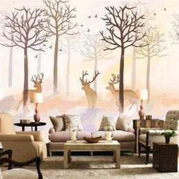 Wholesale Modern Minimalist Retro Antique American Deer Backdrop Stereo High Quality Wear Custom Living Room D Stereo Bathroom Mural Wa