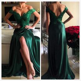 Descuento alfombra roja del hombro fuera Sexy verde encaje fuera de la espalda profunda hombro V cuello trasero alto de corte largo de la alfombra roja vestidos de baile de fin de curso vestido E46