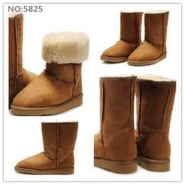 Wholesale Sexy Flat Comfortable Shoes - 6 Colors Women Girls Fashion Tall Snow Boots sexy comfortable women's Winter warm Boots Cow leather Anti-fur boot shoes 1 pair Drop shipping