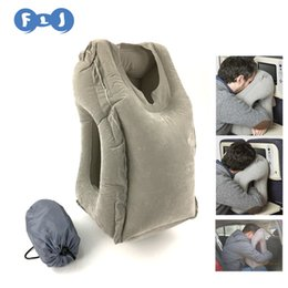 Wholesale Newest Inflatable Travel Pillow with Pillow Case Bag Easy Floading Sleeping Flocking PVC Material Neck Pillow For Adults or Kids in travel