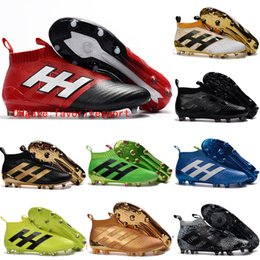 Wholesale 2016 Mens laceless Youth purecontrole FG AG ace soccer cleats Original High Ankle Kids Boy football soccer shoes boots High Quality Gold