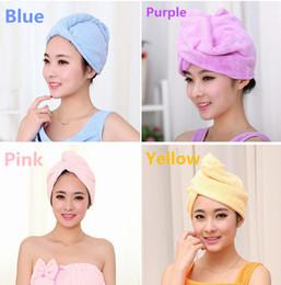 Wholesale 2017 colors Women Bathroom Super Absorbent Quick drying Microfiber Bath Towel Hair Dry Cap Salon Towel