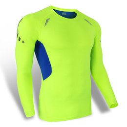 Calcetines de compresión Capa de base Nylon Hombres Running Camisetas de manga larga transpirable Yoga Bodybuilding Fitness Ropa Verde / Azul / Negro / Naranja desde camiseta para correr verde fabricantes