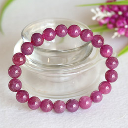 High Quality Wholesale Natural Genuine Pink Red Ruby Bracelet Smooth Round beads Finished Stretch Bracelets 9mm 04354