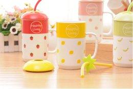 fruit mug with sucker ceramics funny cute coffee mug milk