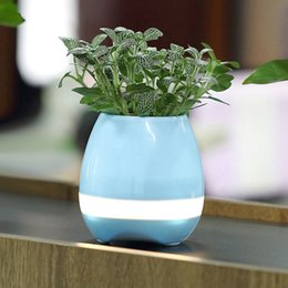 Popular Touch Wireless Bluetooth Flowerpot Speaker with LED Multiple Colors Home Smart Plant Office Music Player