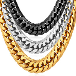 U7 12MM Big Chunky Statement Gold Chain Necklace Bracelet Men Jewelry Gold Plated Stainless Steel African Ethiopian Jewelry Set Accessories