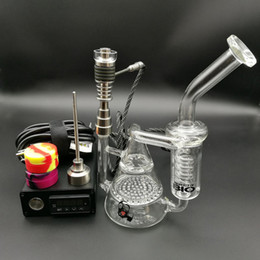 Perfect Dnail Enail kit Digital Essential Oil Vaporizer heater Coil PID box with oil rig Electric Dab rigs water bongs glass water pipe