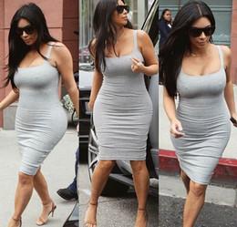 Robes moulantes kardashian en Ligne-Celebrity Bandage Robe Sexy Kim Kardashian Longueur au genou Robe Casual Style Pour Night Club Robe de Soirée Bleu Royal Blanc Gris