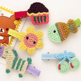 Wholesale Fashion Solid Cute Crochet Flower Horse Fish Cup Cake Baby Girls Hairpins Kawaii Cartoon Animal Floral Hair Clips Kids Hair Accessories