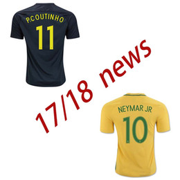 free shipping top thai quality 2017 18 Brazil Soccer Jerseys Camisa de futebol Neymar Jr Oscar Silva Pele Coutinho Marcelo Football Shirt