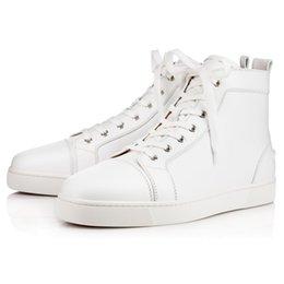 Франция человек для продажи-Франция Подлинный Конструктор Мужская обувь Мужская Flat Red Bottoms кроссовки синий / белый / красный высокий SZ35-46 Топ высокого качества из натуральной кожи Плоский