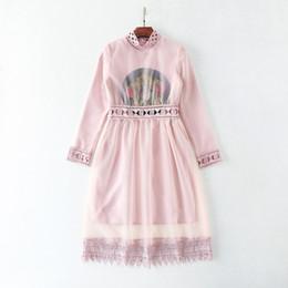 Descuento vestidos de verano de la manga medio La alta calidad 2017 bordado 2Piece fija estilo de las mujeres de moda pista de primavera de verano de manga larga de encaje embellecido vestidos medianos largos