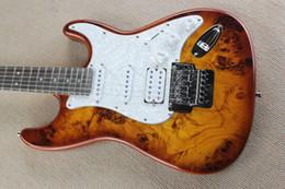 Wholesale Top Quality China Custom Guitar Burl pattern natural satinwood body electric guitar Floyd rose tremolo ST Electric Guitar