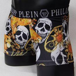 Wholesale Vogue Men Underwear Boxers Shorts Luxury Brand Skull Design Male Waistband Sexy Male Underpant pc1bag