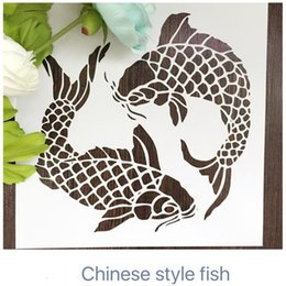 Wholesale laser cut stencils printing designs Masking template For Scrapbooking drawing and more-Two Chinese auspicious carps 003